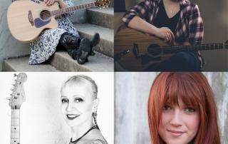 She Rocks Showcase performers Ashley Riley (top left), Juliana Wilson (top right), Leni Stern (bottom left), and Savannah Lynne (bottom right).