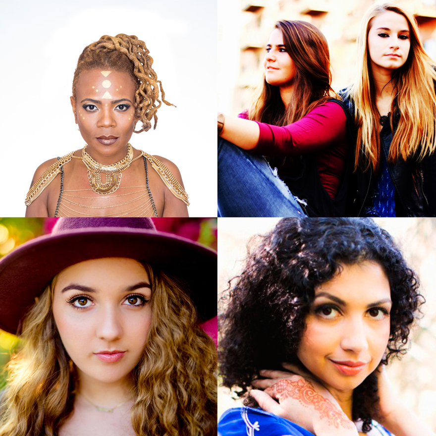 Pictured from top left: Divinity Roxx, Facing West, Maddy Vance, Anjali Ray